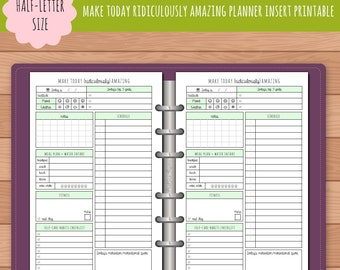 HALF-SIZE Make Today Ridiculously Amazing Daily Day On One Page Planner Insert Printable   Fits Kikki K Large & Filofax A5 Instant Download