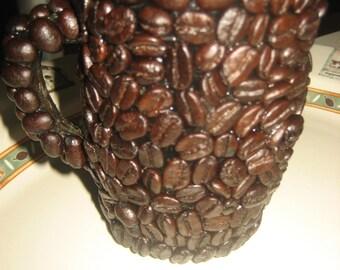 Espresso Cup / Coffee Beans on glass Mug / Unique handmade