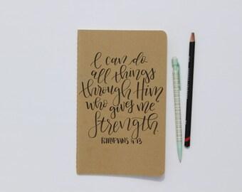 Philipians 4:13 Handlettered Moleskine Journal