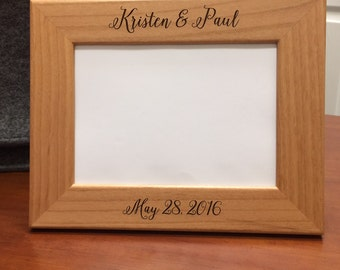 Personalized Engagement Gift Custom Engraved Picture Frame Rustic Wood Wedding Gift Keepsake 5x7, Bridal Shower Gift, Couples Wedding Gift