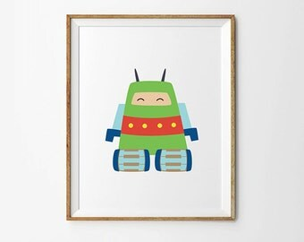 Robot print, 5 x 7 in, 8 x 10 in, Green, Yellow & Blue, Baby boy print, Playroom Poster, Robot poster, Toddler boy, Kids Printables