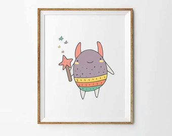 Fairy Tale print, 5 x 7 in, 8 x 10 in, Nursery art print, Nursery wall art, Kids illustrations, Baby wall art, Printables