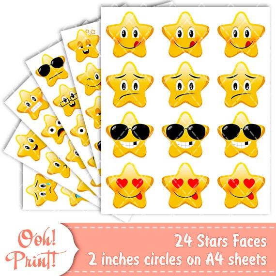 Blank Calendar Emoji : Star emoji stickers printable smiling by oohprint