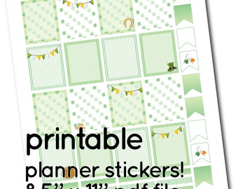 ECLP Printable St Patricks Full Box Stickers - Boxes, Headers and Flags for Planner - soft green