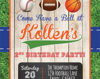 Game On! Sports-Themed Birthday Party Digital Printable Invitation Design