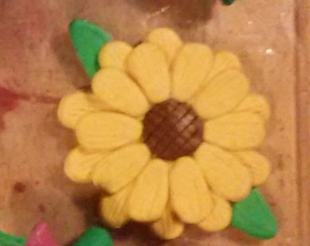 handmade Clay sunflower magnet