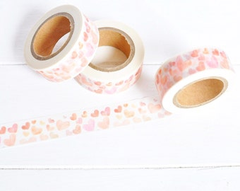 Pink and Peach Heart Washi Tape. 15mm x 10m. Watercolor Hearts. Love Washi Tape. Heart Planner Supplies. Pretty Washi Tape. Baby Girl Washi