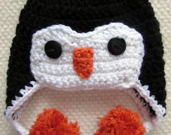 Crochet Penguin Hat, crochet baby hat, baby shower gift, newborn gift, crocheted animal hat, baby photo props, baby girl, baby boy