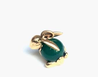 Jadeite and Gold Bunny Charm/Pendant