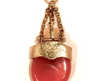Antique Carnelian  and Yellow gold Flask.