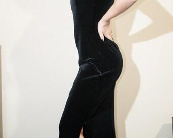 Long black dress/Goth/boho/90'/Slim dress