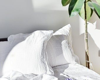 SIMPLE Linen Pillowcase Luxury softened, natural, white, linen bedding, Organic softened linen pillow case, washed pillow