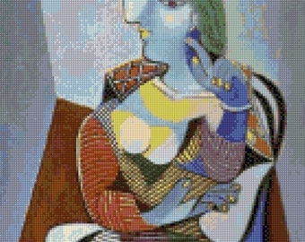 Picasso 'Seated Woman Marie-Therese', 1937 Cross Stitch Pattern - PDF Instant Download