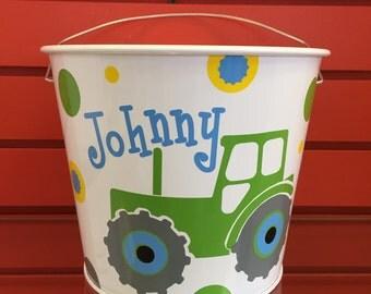 Personalized Truck Bucket- Monogrammed Bucket- 5 Quart Bucket- Easter Bunny Bucket- Personalized Children's Gift- Truck Bucket
