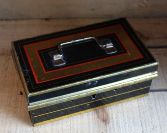 Antique metal box English make - Black, gold and red metal box - Box with cover - Money box - Metal container - Petty Cashier- Orange Rétro