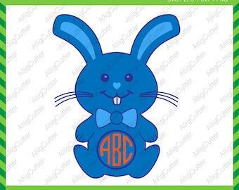 Easter Cute Bunny With Bow Tie Frames SVG DXF PNG eps Rabbit Monogram Cut Files for Cricut Design, Silhouette studio, Sure Cut A Lot