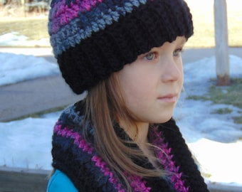 Crochet hat and matching cowl