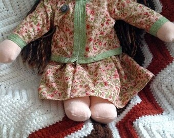 16inch Waldorf style Doll, Brown hair and blue eyes