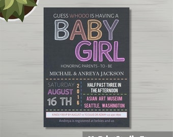 Printable Baby Girl Shower Invitation Template for Word, Girl Shower Card Template. Printed Invitations or DIY Instant Download