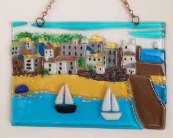 Unframed Fused Glass Picture of St Ives Cornwall