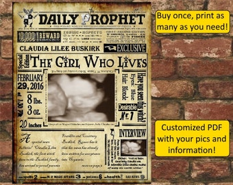 Harry Potter Daily Prophet Birth Announcement
