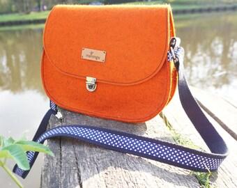 Purse - Saddle bag in orange with polka dots by marengu