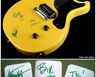 Green Day stickers vinyl signature Billie Joe, Mike Dirnt,Tre Cool guitar decal