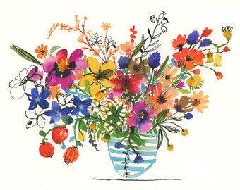 Watercolour in striped blue vase