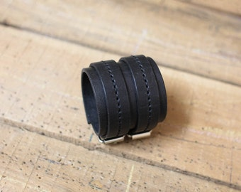Leather cuff bracelet brown leather double strap wristband