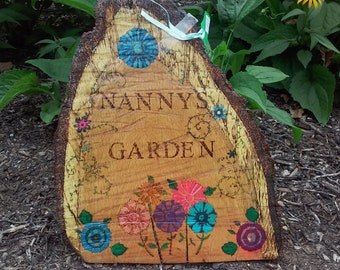 Pyrography wood burned tree wedge slice garden art Nanny's Garden