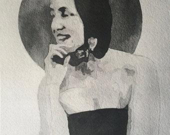 Little Edie Watercolor Mini-Print