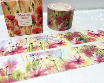 Summer flower Washi tape 10M pretty wild flower Vibrant flower EXTRA WIDE Masking tape Watercolored flower sticker tape flower wrapping gift