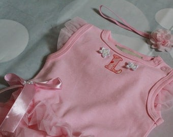 Diaper Cover- Girls Pink First Birthday- Smash the Cake outfit-Pink Chiffon Onesiet- Baby  Bloomer
