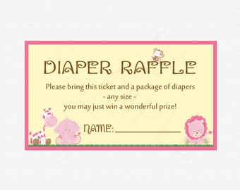 Safari Diaper Raffle, Safari Diaper Raffle Tickets, Diaper Raffle Girl, Diaper Raffle Sign Printable, Pink Baby Shower, Girl  Bs0001-P