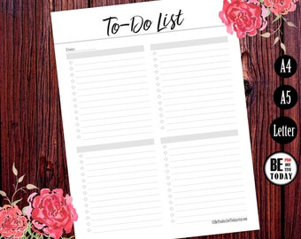 To Do List Printable, To Do Planner Inserts, To Do List Notebook, To Do List Notepad, A5, A4, Letter Size, Printable Planner Pages, Filofax