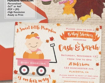 Watercolors Little Pumpkin Baby Shower invitations Pumpkin Sweet little pumpkin DIY printable baby shower invite boy and girl red wagon