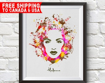 Madonna Print,Madonna Poster, Madonna Art, Home Decor, Gift Idea, Free shipping to canada & usa