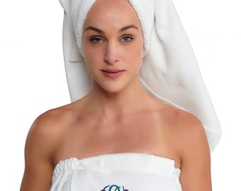 Spa Wrap M, L/XL Monogrammed Bridesmaid Gift Terry/Velour, Personalized Towel Wrap, 100% cotton | White