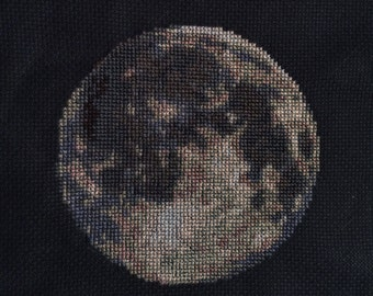 Moon Cross Stitch Pattern PDF - Planet Solar System