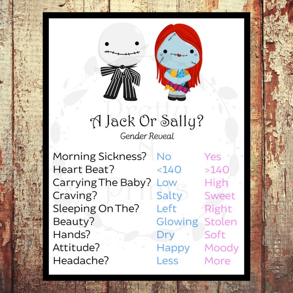 A Jack Or Sally Gender Reveal Game Baby Shower Game
