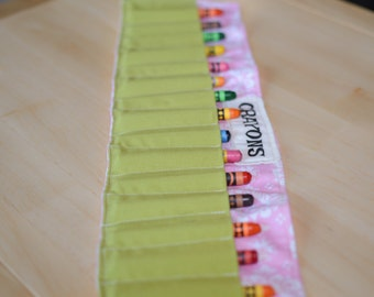Fun Crayon Rollup, Crayon Roll, Crayon Holder, Crayon Organizer, Fun Crayon Roll-up, Patterned Crayon Roll, Girls Gift