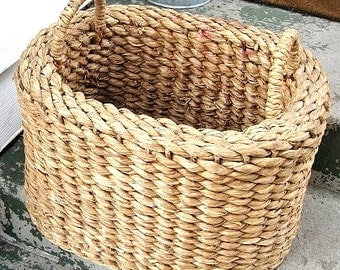 Hand Woven Vintage Cattail Reed Rush Log Basket