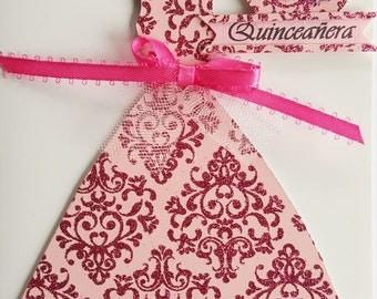 Quinceanera card, 15 birthday, Handmade Quinceañeras, Quinceañeras invitation card, 15 embellished card, 15 greetings card