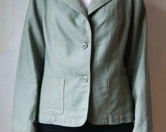 Vintage Women's Olive Green Linen Jacket, Green Linen Blazer
