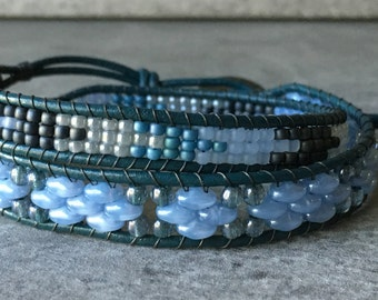 Blue Lagoon Double Wrap Bracelet, Beaded Bracelet, Leather Wrap Beaded Bracelet, Boho Chic Jewelry