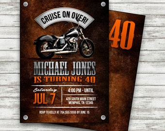 Motorcycle Biker Birthday Invitation Vintage Motorcycle