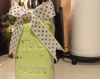 Distressed Mint Mason Jar
