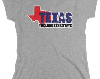 Distressed Texas-The Lone Star State Ladie's T-Shirt, Tejano, Texan Pride, State Outline, Women's Texas Shirts AMD_0603