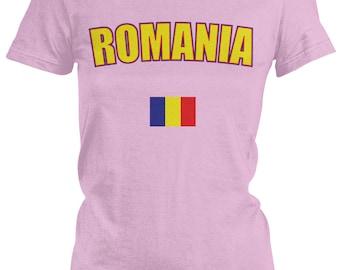 Romania Ladies Juniors T-Shirt, Romanian Pride, Bucharest, Ladies Juniors Romania Soccer Shirts AMD_ROM_08