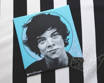 Harry Styles One Direction blue/black/white acrylic painting - sandradeeart